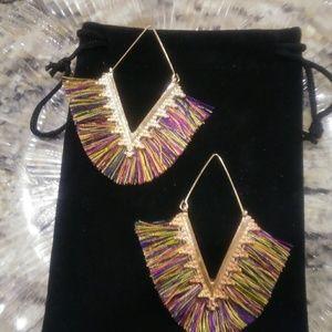 Boho V Shaped Multi Color Tassel Earrings